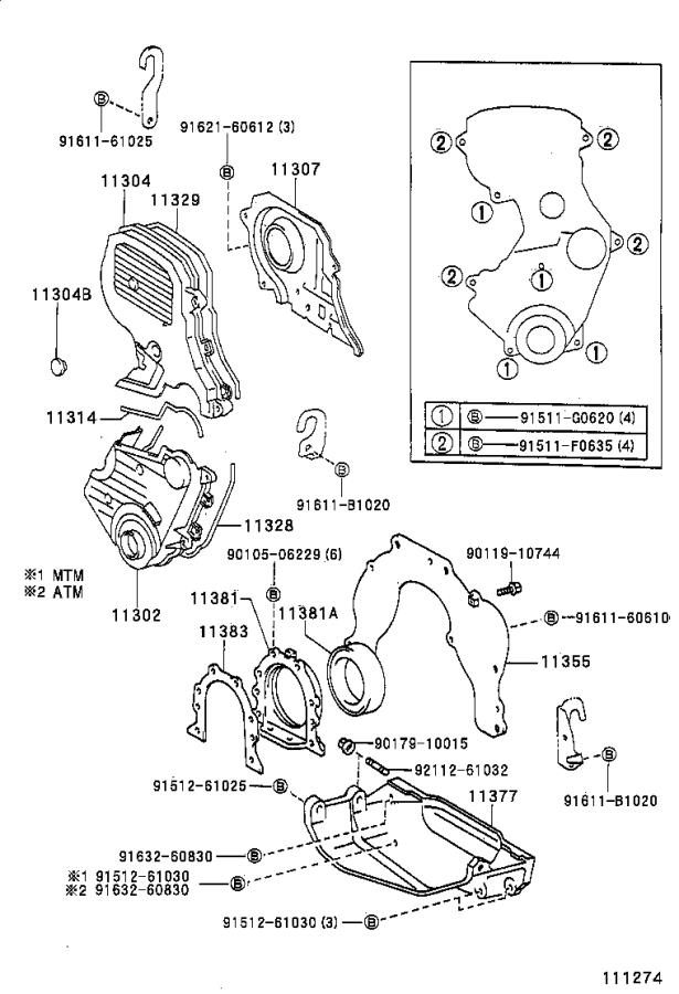 Toyota Celica Engine Timing Cover Gasket  Rear