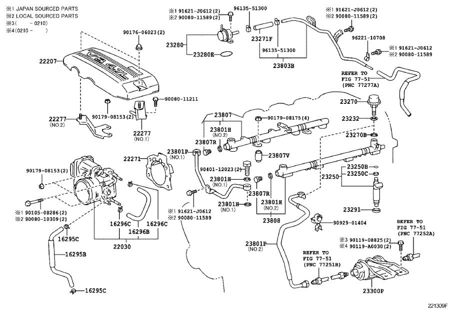 Toyota Tundra Engine Coolant Hose  System  Fuel  Injection