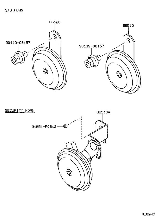Toyota Cressida Horn Assembly  Low Pitched  Electrical